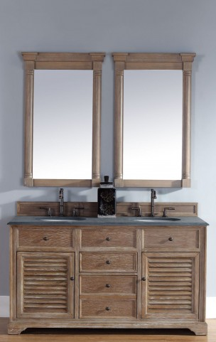 "Savannah 60"" Driftwood Double Vanity With 2Cm Black Granite Top"