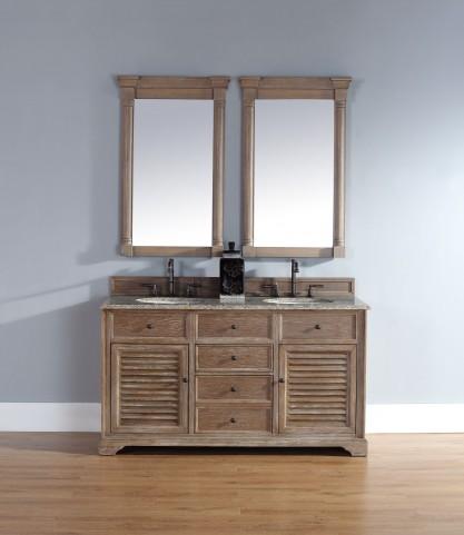"Savannah 60"" Driftwood Double Vanity With 2Cm Santa Cecilia Granite Top"