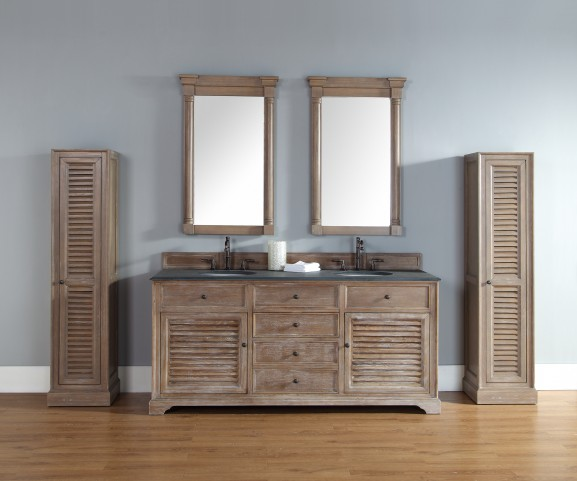"Savannah 72"" Driftwood Double Vanity With 2Cm Black Granite Top"