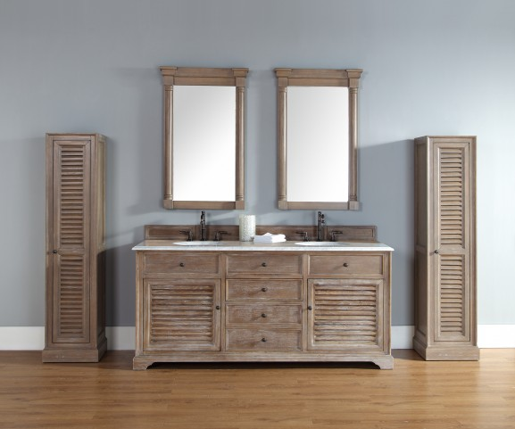 "Savannah 72"" Driftwood Double Vanity With 2Cm Carerra White Marble Top"