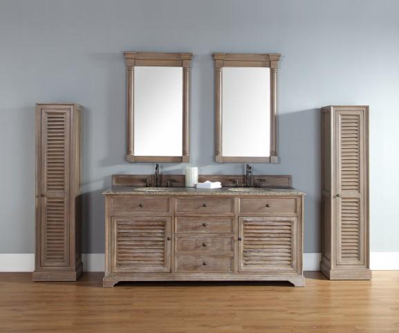 "Savannah 72"" Driftwood Double Vanity With 2Cm Santa Cecilia Granite Top"