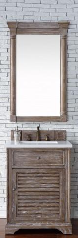 "Savannah 26"" Driftwood Single Vanity With 3Cm Snow White Quartz Top"