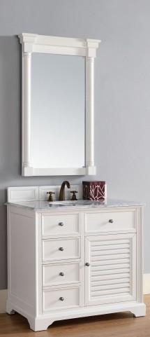 "Savannah 36"" Cottage White Single 2CM Top Vanity Set"