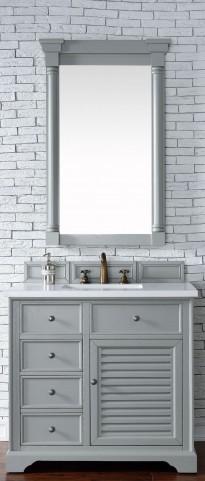 "Savannah 36"" Urban Gray Single Vanity With 3Cm Snow White Quartz Top"