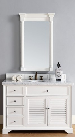 "Savannah 48"" Cottage White Single 4CM Top Vanity Set"