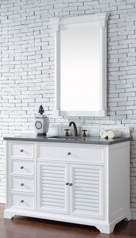 "Savannah 48"" Cottage White Single Vanity With 3Cm Shadow Gray Quartz Top"