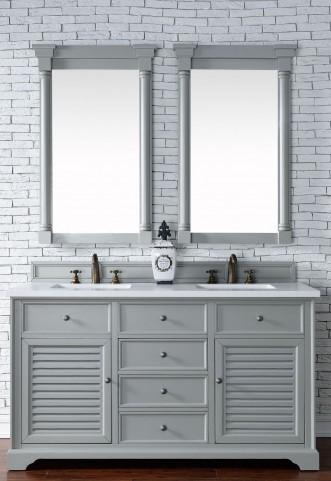 "Savannah 60"" Urban Gray Double Vanity With 3Cm Snow White Quartz Top"