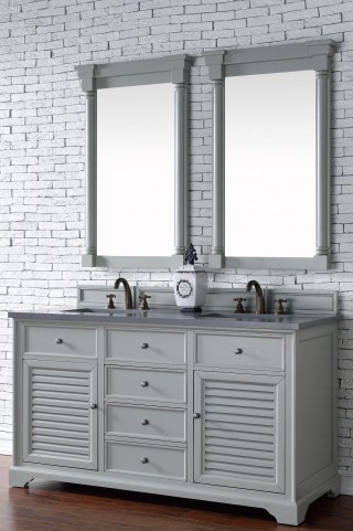 "Savannah 60"" Urban Gray Double Vanity With 3Cm Shadow Gray Quartz Top"