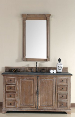 "Providence 60"" Driftwood Single Vanity With 2Cm Black Granite Top"