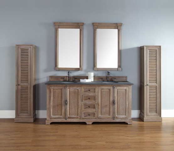 "Providence 72"" Driftwood Double 2CM Top Vanity Set"