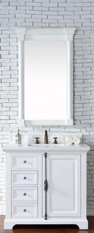 "Providence 36"" Cottage White Single Vanity With 3Cm Snow White Quartz Top"