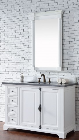 "Providence 48"" Cottage White Single Vanity With 3Cm Shadow Gray Quartz Top"