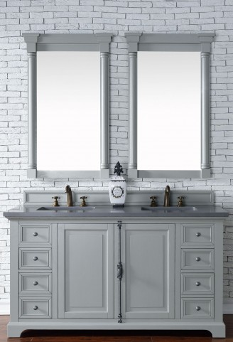 "Providence 60"" Urban Gray Double Vanity With 3Cm Shadow Gray Quartz Top"