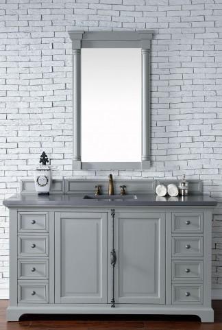 "Providence 60"" Urban Gray Single Vanity With 3Cm Shadow Gray Quartz Top"