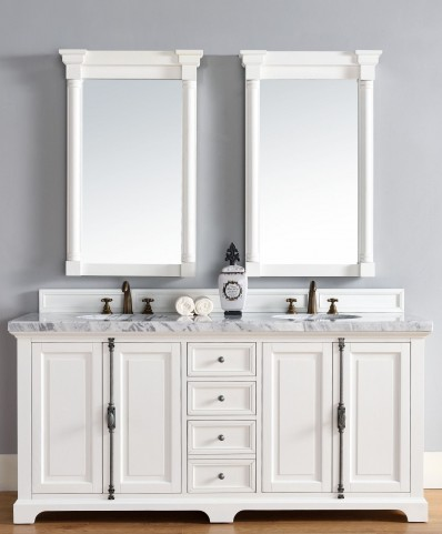 "Providence 72"" Cottage White Double 4CM Top Vanity Set"