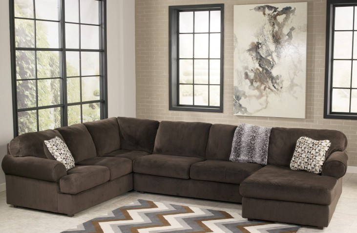 Jessa Place Chocolate Right Arm Facing Sectional