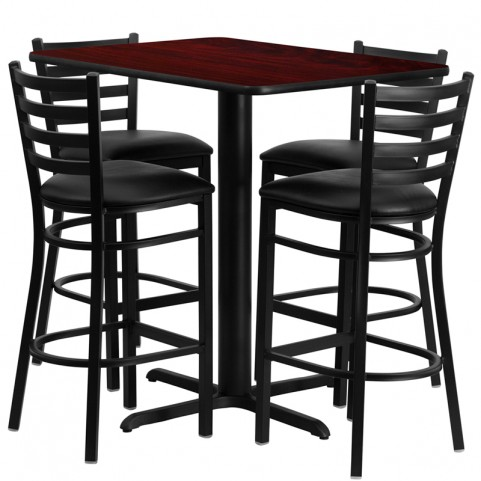 "24"" Rectangular Mahogany Table Set with Ladder Back Black Vinyl Bar Stool"