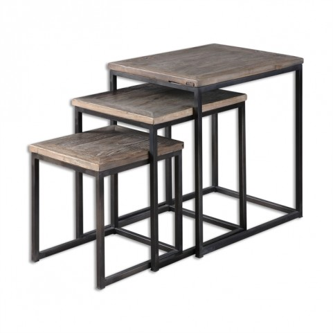 Bomani Wood Nesting Tables Set of 3
