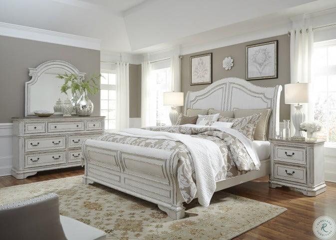 Magnolia Manor Antique White Sleigh Bedroom Set