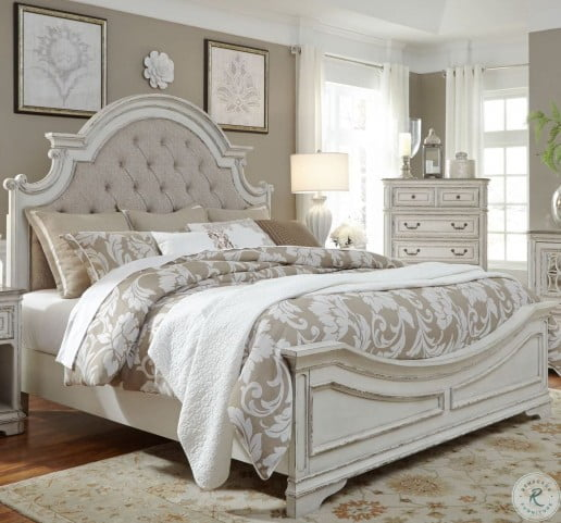 Magnolia Manor Antique White Queen Upholstered Panel Bed