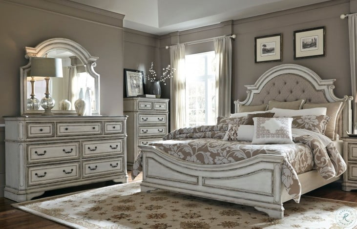 Magnolia Manor Antique White Upholstered Panel Bedroom Set From