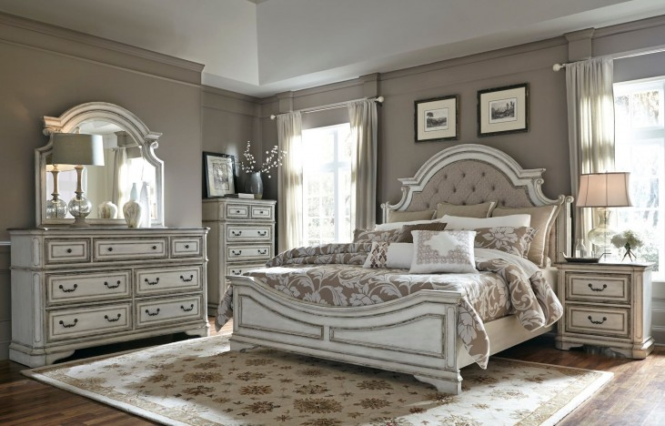 Magnolia Manor Antique White Upholstered Panel Bedroom Set from ...