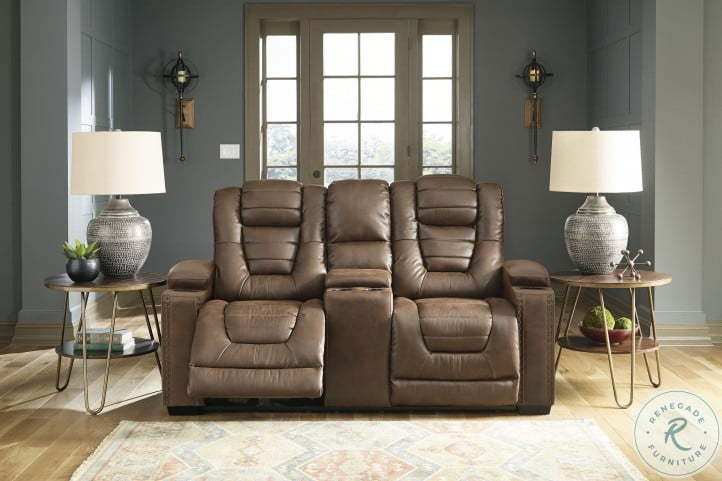 Owner's Box Thyme Power Reclining Console Loveseat And Adjustable Headrest
