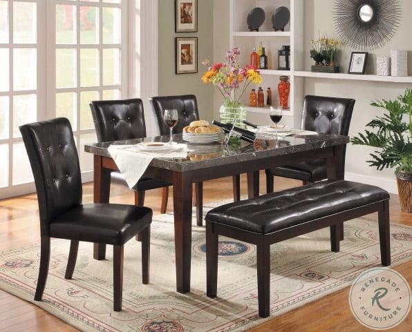 Decatur Espresso Black Marble Top Dining Room Set