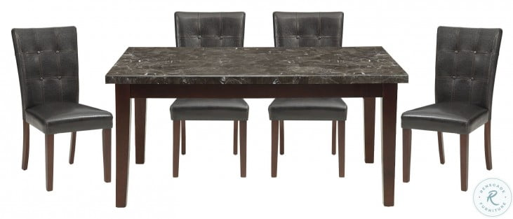 Decatur Espresso Black Marble Top Dining Table