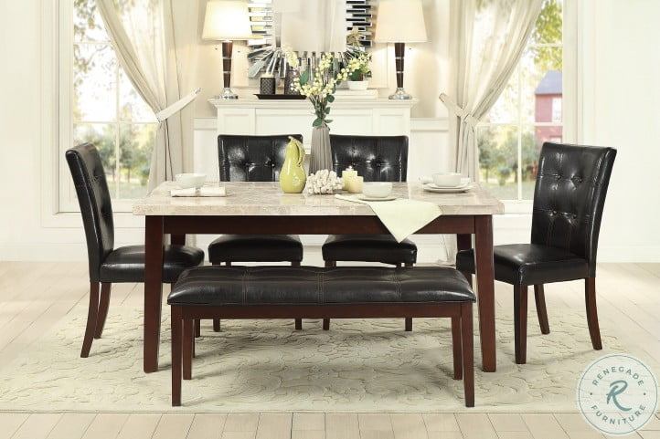 Decatur Espresso White Marble Top Dining Room Set