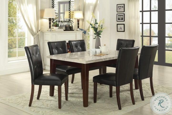 Decatur Espresso White Marble Top Dining Room Set