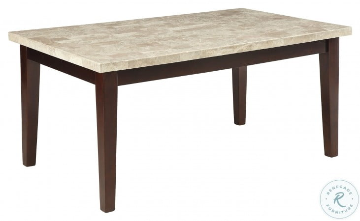 Decatur Espresso White Marble Top Dining Table
