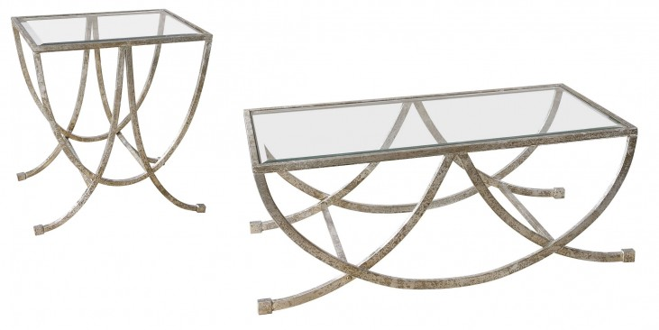 Marta Antiqued Silver Occasional Table Set