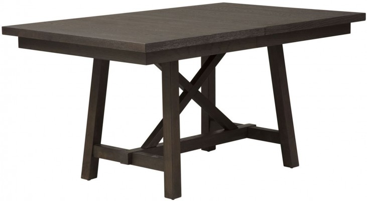Atwood Creek Wirebrushed Espresso Extendable Trestle Dining Table