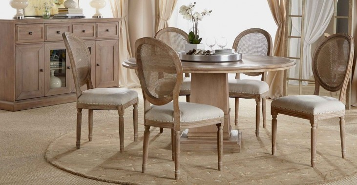 Hudson Stone Wash Square Extendable Pedestal Dining Room Set with Oliver Dining Chairs
