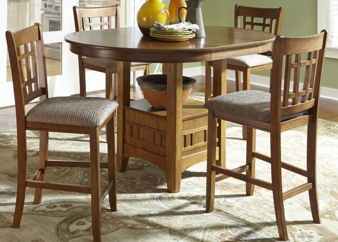 Santa Rosa Brown Extendable Pedestal Dining Room Set