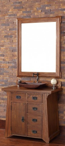 "Pasadena 36"" Antique Oak Single Vanity With 4Cm Black Granite Top"