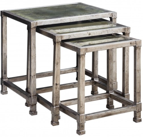 Keanna Antiqued Silver Nesting Tables Set of 6