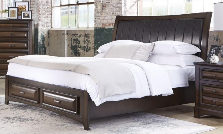Knollwood Dark Cognac King Storage Bed