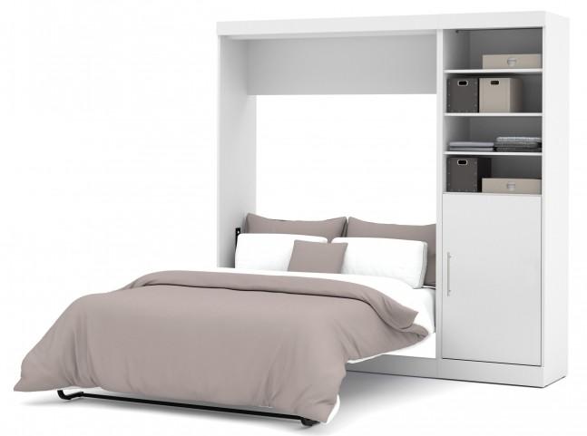 "Nebula White 84"" Full Wall Storage Bed"