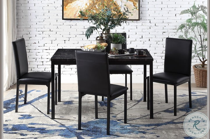 Tempe Black Marble Top Dining Room Set