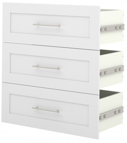"Pure White 3 Drawer Set For 36"" Storage Unit"