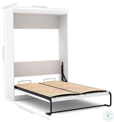 """Pure White 109"""" Drawer Full Wall Bed"""