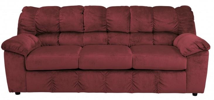 Julson Burgundy Stationary Sofa