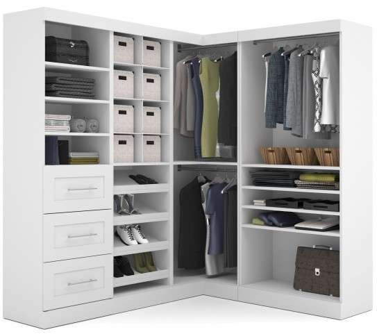 "Pure White 82"" Corner Open Storage Unit With 3 Drawers"