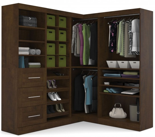 "Pur Chocolate 82"" Corner Open Storage Unit With 3 Drawers"