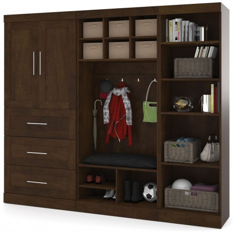 "Pur Chocolate 97"" Door Mudroom Set With 3 Drawers"