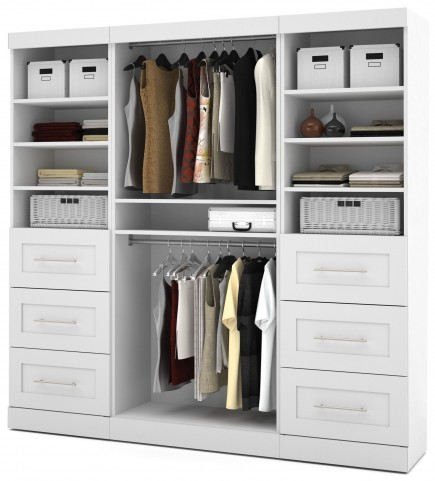 """26857 Pure White 86"""" Classic Open Storage Unit With 6 Drawers"""
