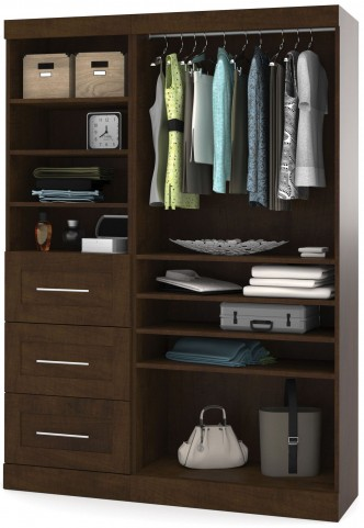 """Pur Chocolate 61"""" Classic Open Storage Unit With 3 Drawers"""