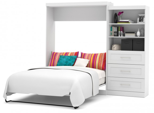 "Pur White 101"" Queen Wall Drawer Storage Bed"
